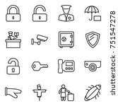 thin line icon set   lock ... | Shutterstock .eps vector #751547278