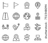 thin line icon set   flag ... | Shutterstock .eps vector #751548094