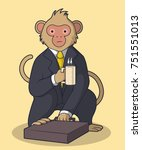 Monkey In Business Suit Vector...