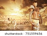 ancient warrior or gladiator... | Shutterstock . vector #751559656