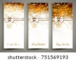 three gold christmas greeting... | Shutterstock .eps vector #751569193