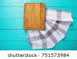 plaid napkin and cutting board... | Shutterstock . vector #751573984