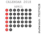 april 2018 calendar. calendar... | Shutterstock .eps vector #751574128