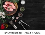 raw chicken breast fillets on...   Shutterstock . vector #751577203