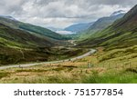 road to a loch through a valley ... | Shutterstock . vector #751577854