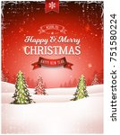 vintage christmas landscape... | Shutterstock .eps vector #751580224