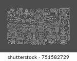 white line art on a dark grey... | Shutterstock .eps vector #751582729