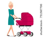 mom with a stroller | Shutterstock .eps vector #751587700