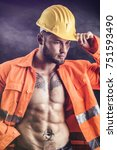 handsome sexy construction... | Shutterstock . vector #751593490