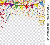 colored confetti with ribbons... | Shutterstock .eps vector #751599250