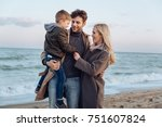 happy family with son standing... | Shutterstock . vector #751607824