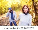 active senior couple on a walk... | Shutterstock . vector #751607890