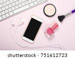 smartphone  headphones and... | Shutterstock . vector #751612723