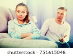 Small photo of Husband and wife having disagreement with each other at home