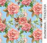 watercolor roses pattern | Shutterstock . vector #751621414
