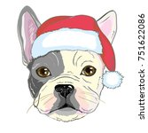 christmas greeting card. pug... | Shutterstock .eps vector #751622086