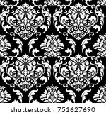 vector damask seamless pattern... | Shutterstock .eps vector #751627690