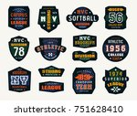 set of emblems and patches in... | Shutterstock .eps vector #751628410