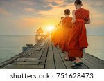 Buddhist Monks Are Walking On A ...