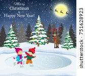 merry christmas and happy new... | Shutterstock .eps vector #751628923