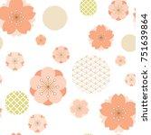 cherry blossom pattern vector....   Shutterstock .eps vector #751639864