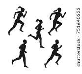 man   woman running. set of... | Shutterstock .eps vector #751640323