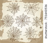 cobweb set on grunge vintage... | Shutterstock .eps vector #751643536