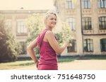 sport woman. run.  | Shutterstock . vector #751648750