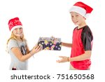 Siblings exchange a christmas present isolated on white background - stock photo
