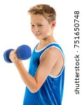 Pre-teen boy lifting weights isolated on a white background - stock photo