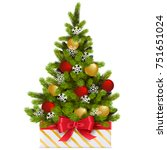 vector gift box with christmas... | Shutterstock .eps vector #751651024
