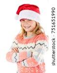 Pre-teen girl wearing a santa hat on a white background - stock photo