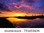 sunset river panoramic landscape | Shutterstock . vector #751653634