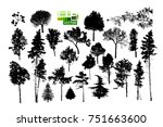 set of silhouette trees. vector | Shutterstock .eps vector #751663600