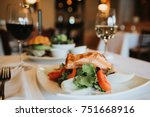 grilled salmon with mixed salad ... | Shutterstock . vector #751668916