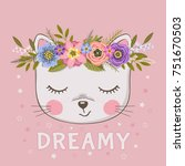 Stock vector cute cat girl dreamy little kitten with floral wreath 751670503