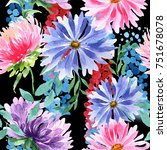wildflower aster flower pattern ... | Shutterstock . vector #751678078
