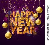 happy new year 2018... | Shutterstock . vector #751679404