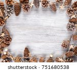 frame with pine cone and white... | Shutterstock . vector #751680538