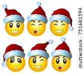 smileys in new year hats.... | Shutterstock .eps vector #751681594