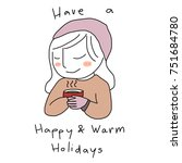 holiday's season greeting card... | Shutterstock .eps vector #751684780
