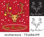 reindeer and fur tree toys on... | Shutterstock .eps vector #751686199