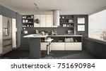 modern wooden kitchen with...   Shutterstock . vector #751690984
