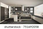 modern wooden kitchen with... | Shutterstock . vector #751692058