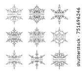 set of winter time black and... | Shutterstock .eps vector #751696246