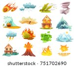 natural disasters cartoon set... | Shutterstock .eps vector #751702690