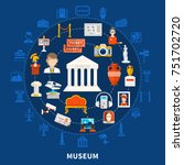 museum blue background with... | Shutterstock .eps vector #751702720