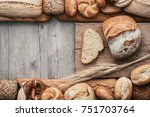 crisp tasty bread and rustic... | Shutterstock . vector #751703764