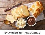 freshly brioche bread and cream ... | Shutterstock . vector #751708819