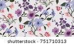 seamless floral pattern in...   Shutterstock .eps vector #751710313